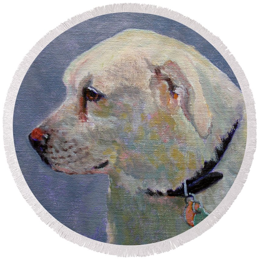 Dog Round Beach Towel featuring the painting Alex by Keith Burgess
