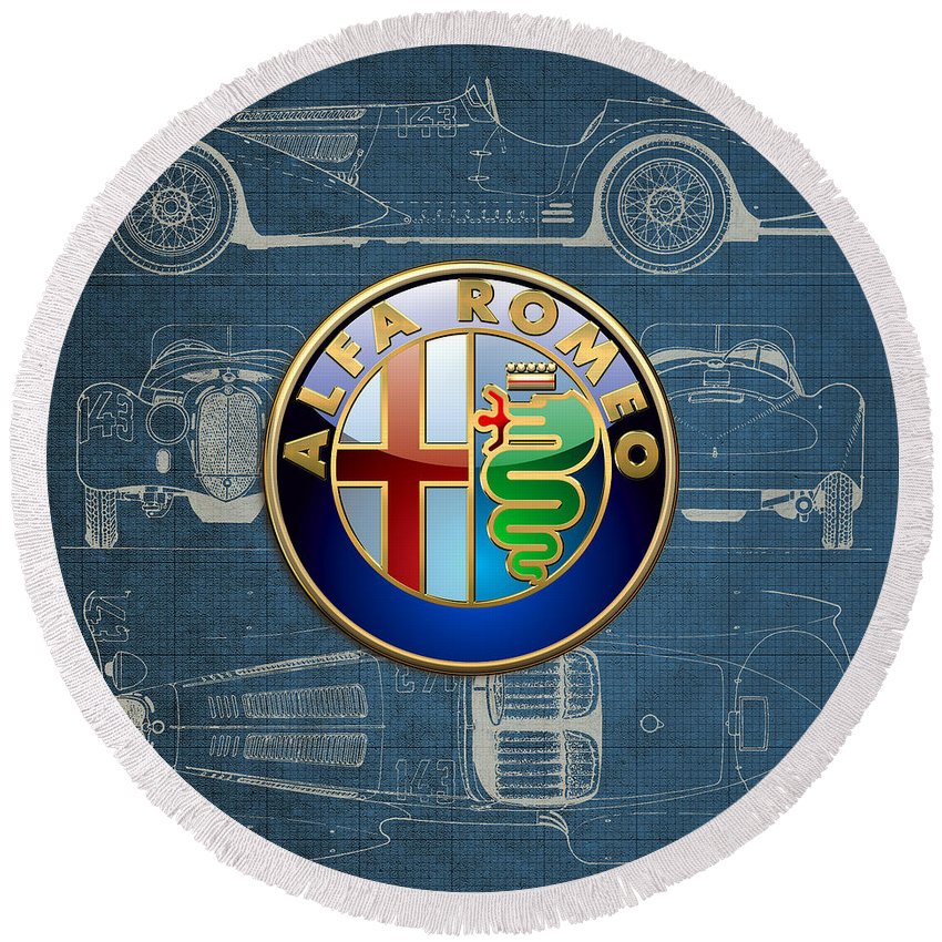 �wheels Of Fortune� By Serge Averbukh Round Beach Towel featuring the photograph Alfa Romeo 3 D Badge over 1938 Alfa Romeo 8 C 2900 B Vintage Blueprint by Serge Averbukh