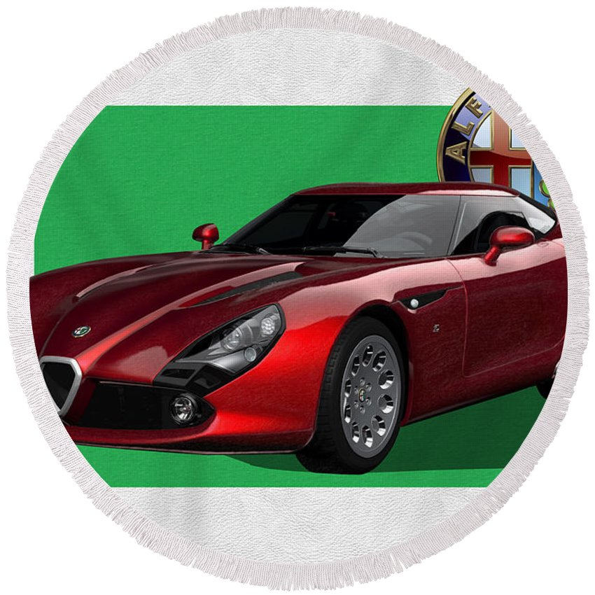�alfa Romeo� By Serge Averbukh Round Beach Towel featuring the photograph Alfa Romeo Zagato T Z 3 Stradale With 3 D Badge by Serge Averbukh