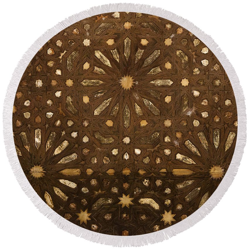 Alhambra Round Beach Towel featuring the photograph Alhambra Ceiling IIi - Techos De La Alhambra IIi by Juan Carlos Ballesteros