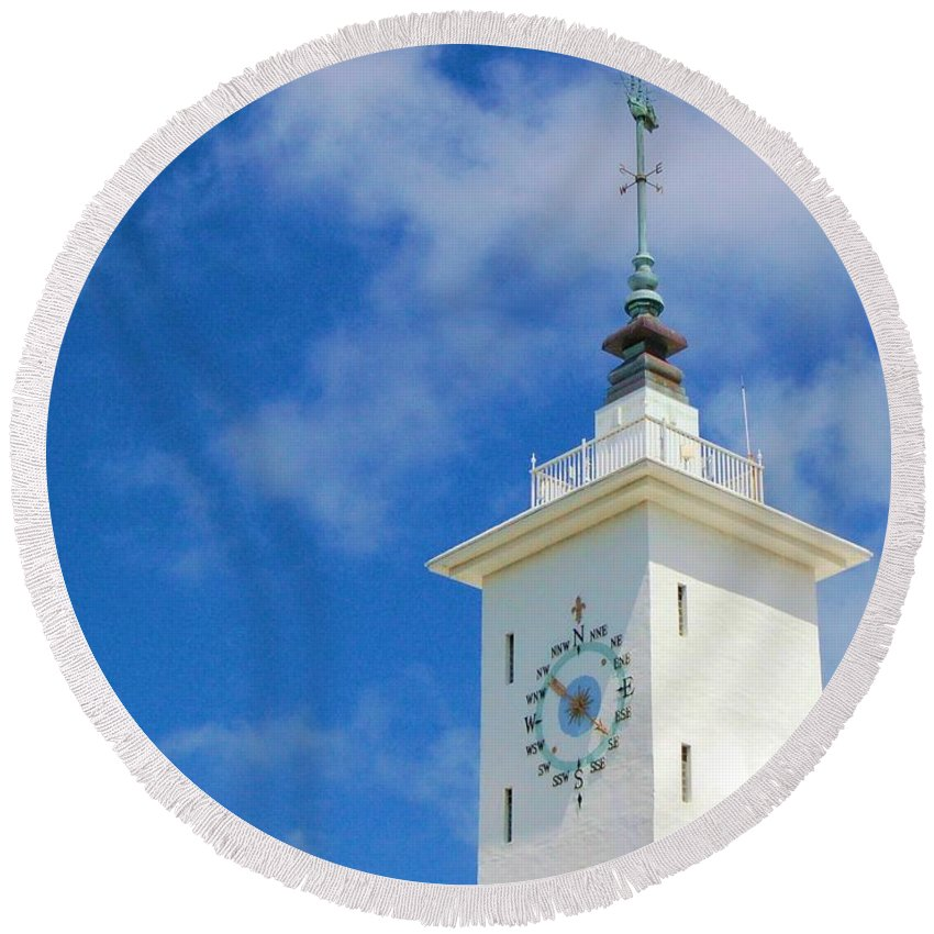 Clock Round Beach Towel featuring the photograph All Along The Watchtower by Debbi Granruth