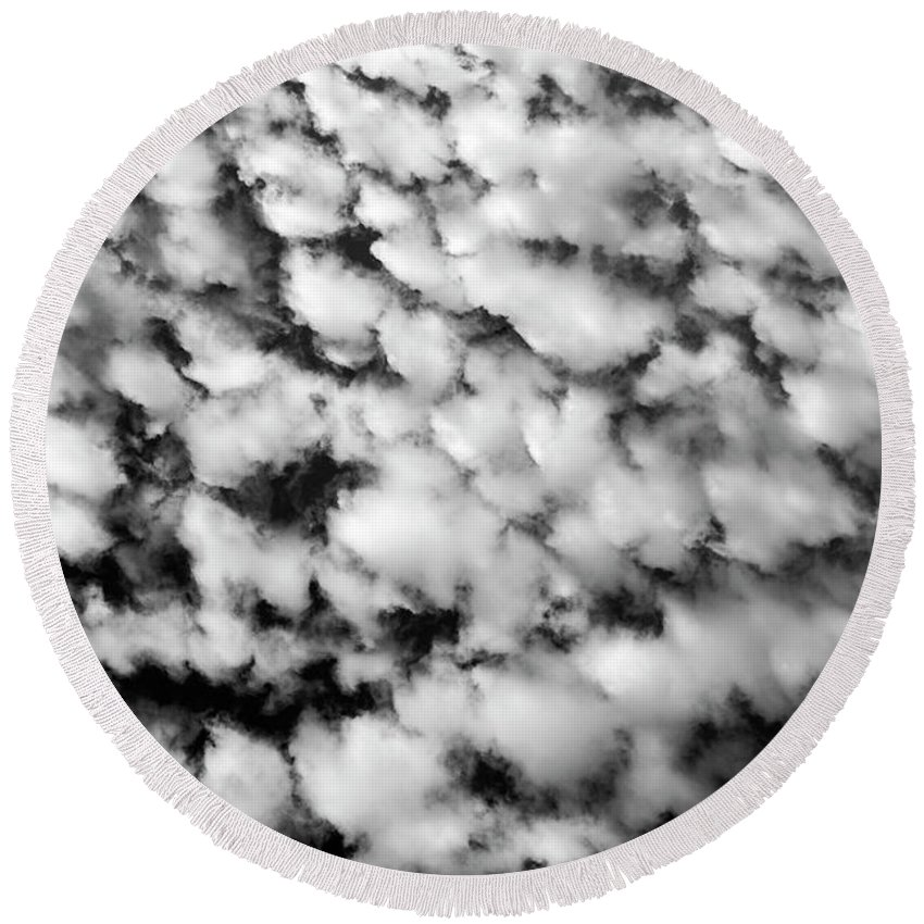 Atmosphere Round Beach Towel featuring the photograph Alltocumulus Cloud Patterns by Jim Corwin
