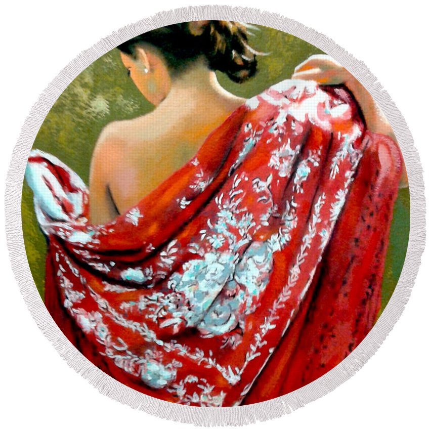 Red Round Beach Towel featuring the painting aly by Jose Manuel Abraham
