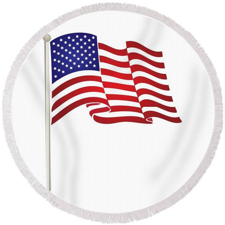 International Round Beach Towel featuring the digital art American Flag by Frederick Holiday