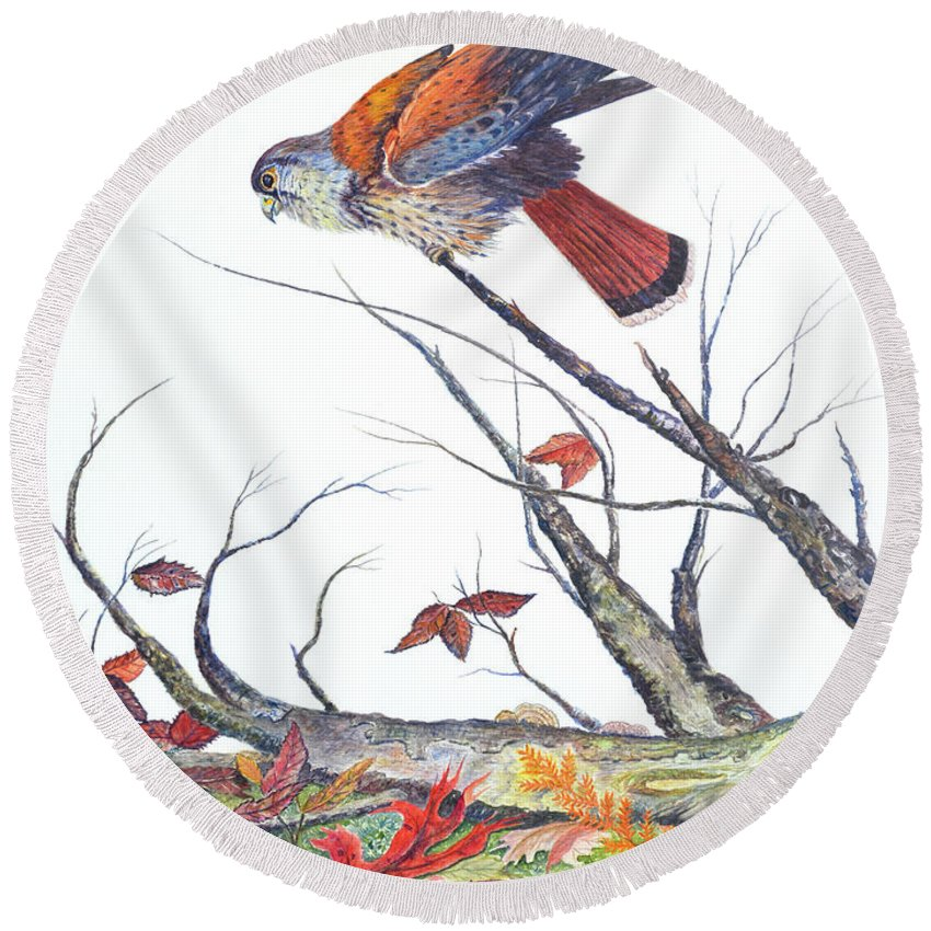 Bird Round Beach Towel featuring the painting American Kestrel by Ben Kiger