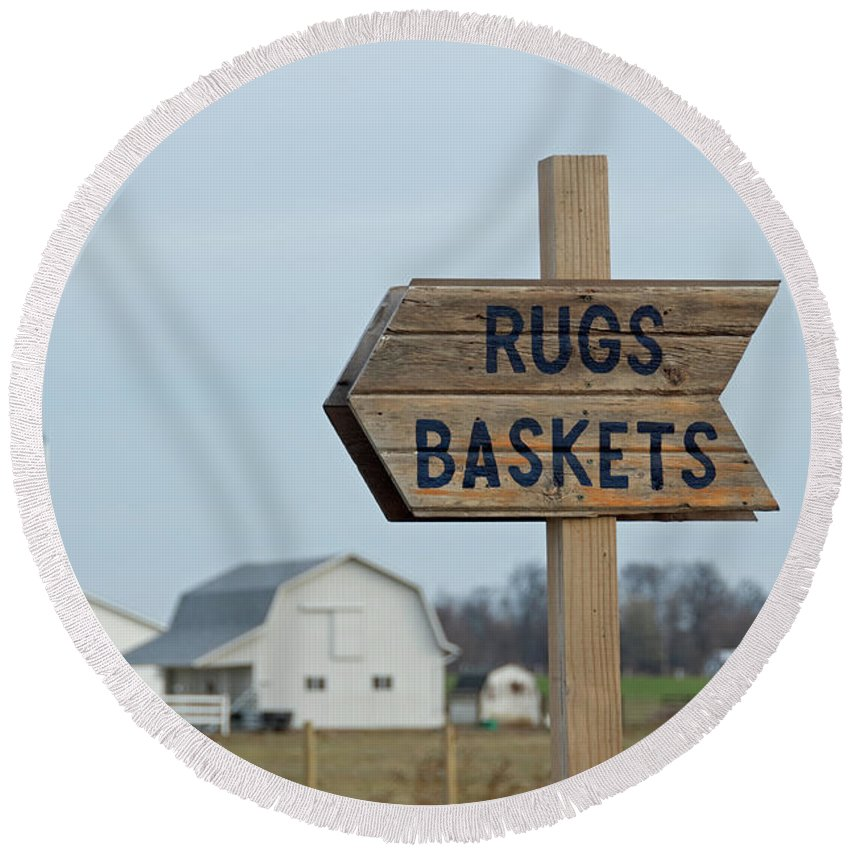 Amish Round Beach Towel featuring the photograph Amish Sign by David Arment