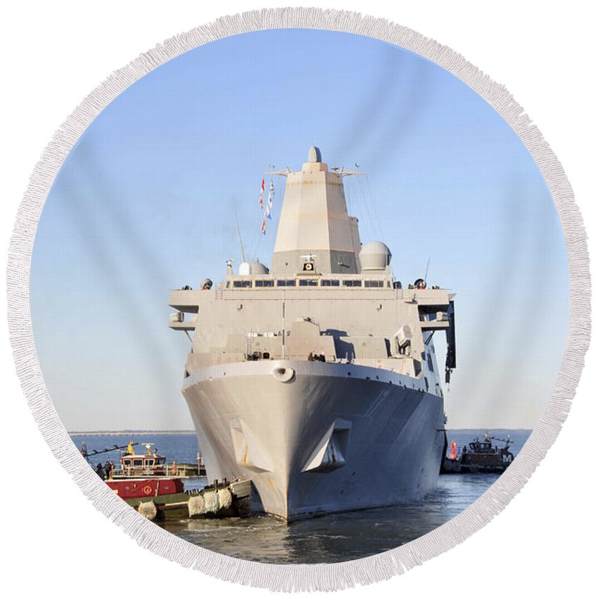 No People Round Beach Towel featuring the photograph Amphibious Transport Dock Ship Uss San by Stocktrek Images
