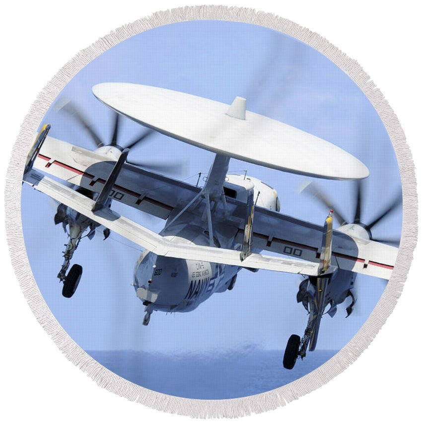 Navy Round Beach Towel featuring the photograph An E-2c Hawkeye Launches by Stocktrek Images
