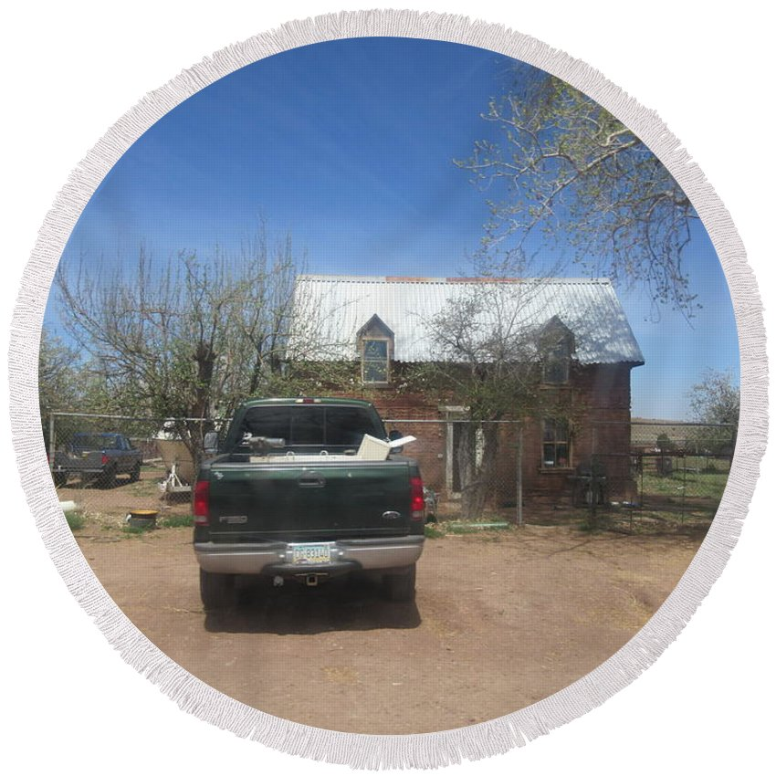 An Round Beach Towel featuring the photograph An Historical Concho House by Frederick Holiday