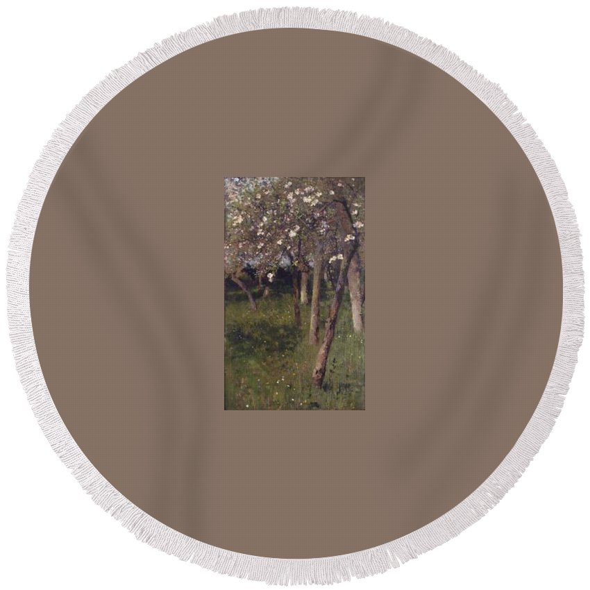 An Orchard Round Beach Towel featuring the painting An Orchard by George Clausen