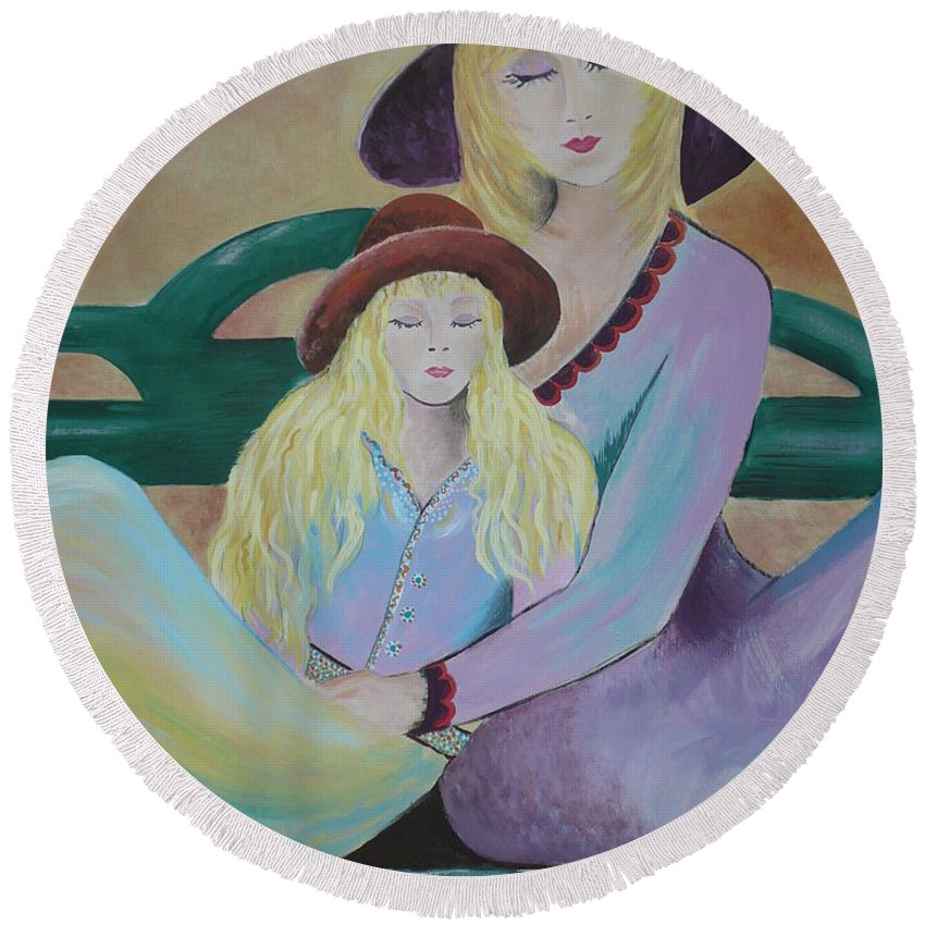 Mother/daughter Round Beach Towel featuring the painting Angel Face by Kris Crollard