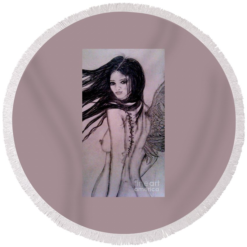 One-wing Round Beach Towel featuring the drawing A Feather In The Wind by Wendy Wunstell