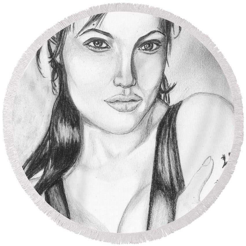 Portrait Round Beach Towel featuring the drawing Angelina Jolie Portrait by Alban Dizdari
