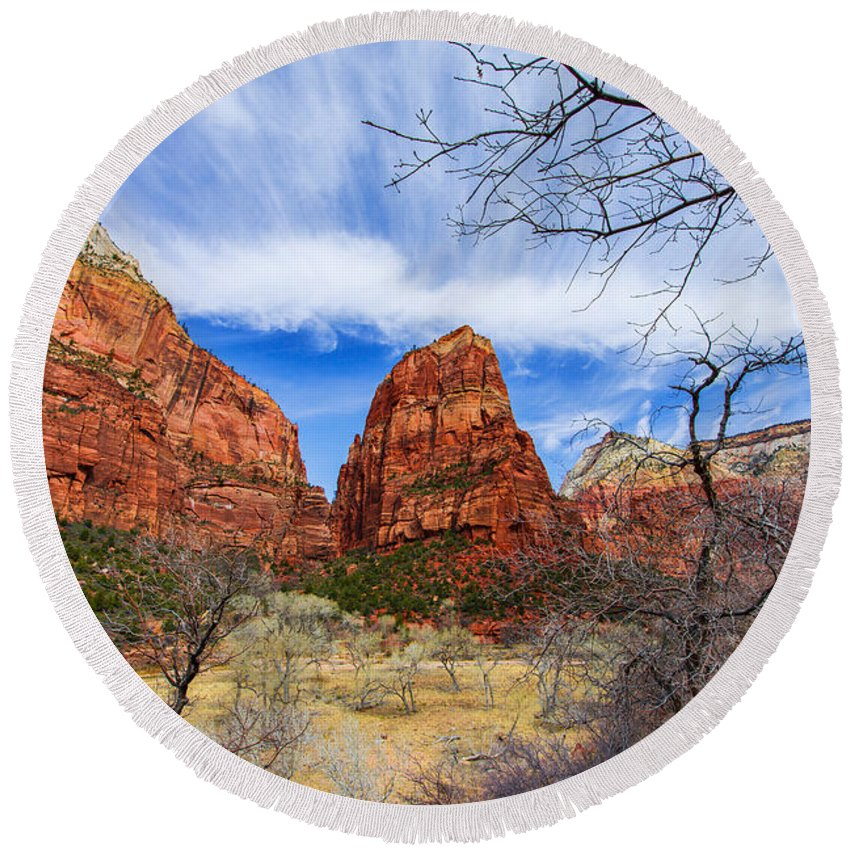 Angels Landing Round Beach Towel featuring the photograph Angels Landing by Chad Dutson