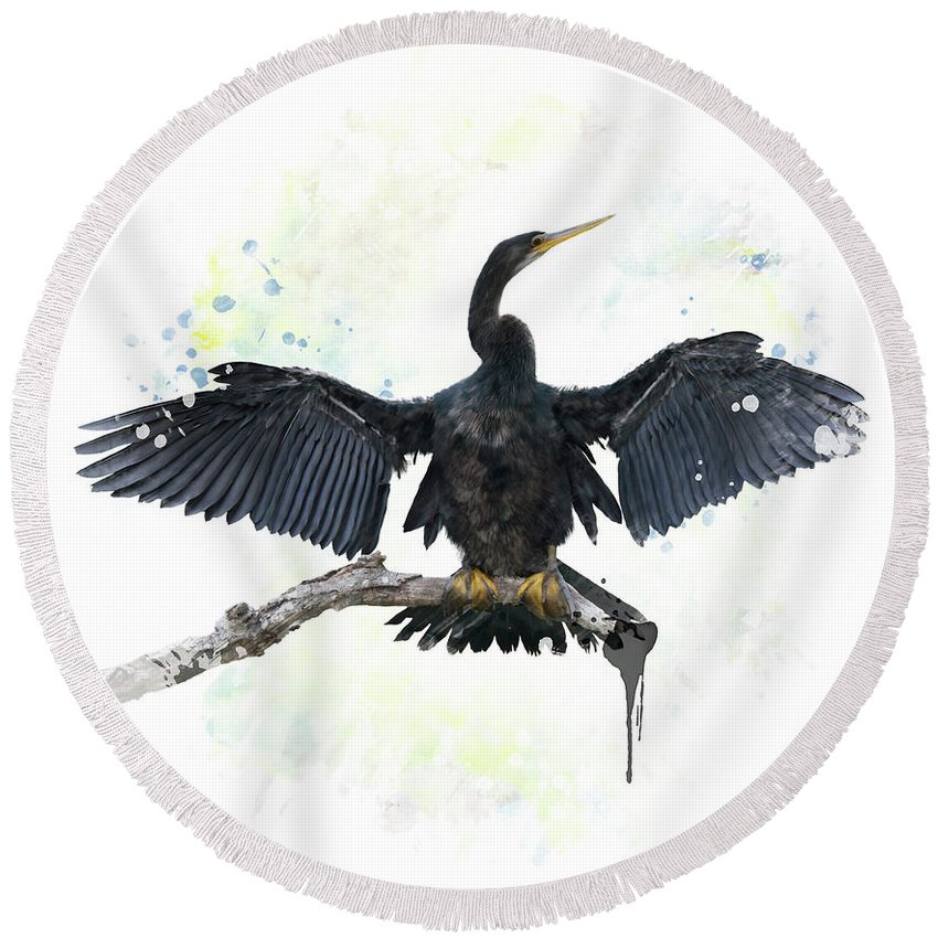 Anhinga Round Beach Towel featuring the digital art Anhinga Bird by Svetlana Foote
