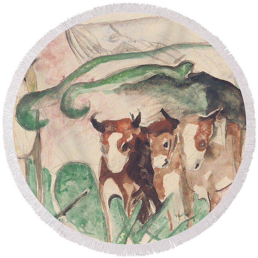 Blaue Reiter; Expressionist; German Expressionist; Animal; Animals; Farm Aninal; Farm Animals; Horse; Cow; Cows; Herd; Stylised; Sketch; Study; Landscape; Rural; Countryside Round Beach Towel featuring the painting Animals In A Landscape by Franz Marc