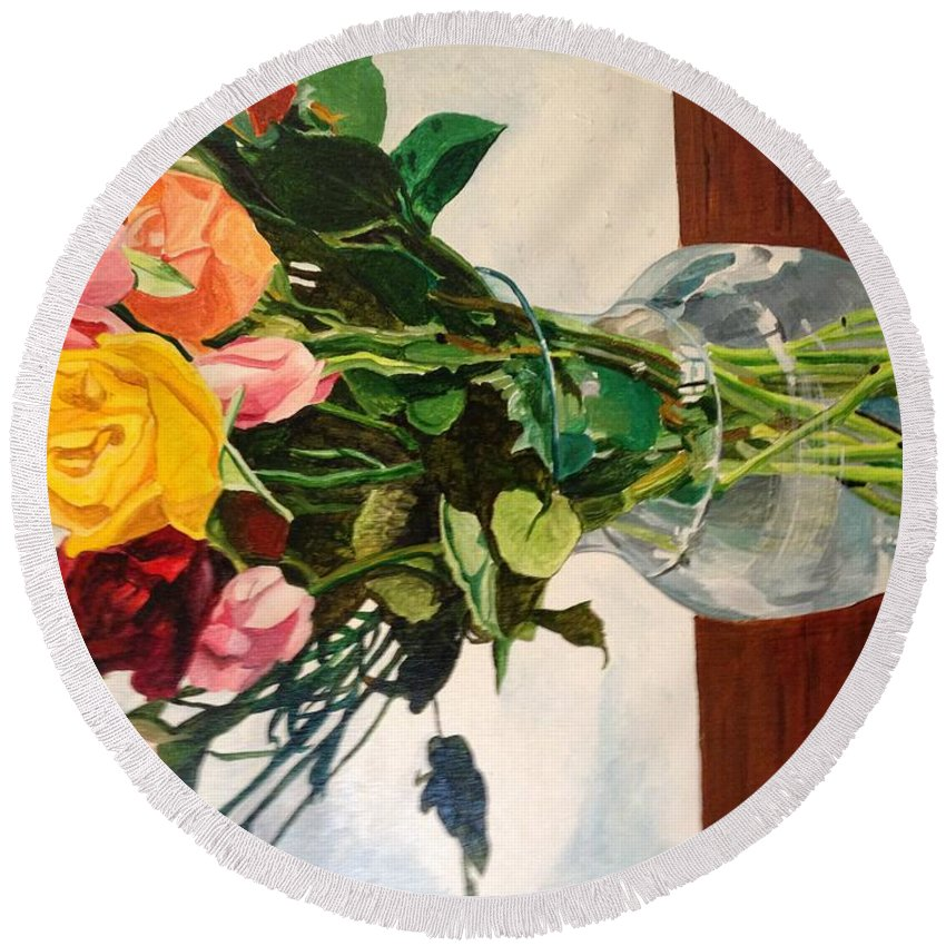 Flowers Floral Yellow Red Green Still Life. Round Beach Towel featuring the painting Anniversary Flowers by Bart Dunlap