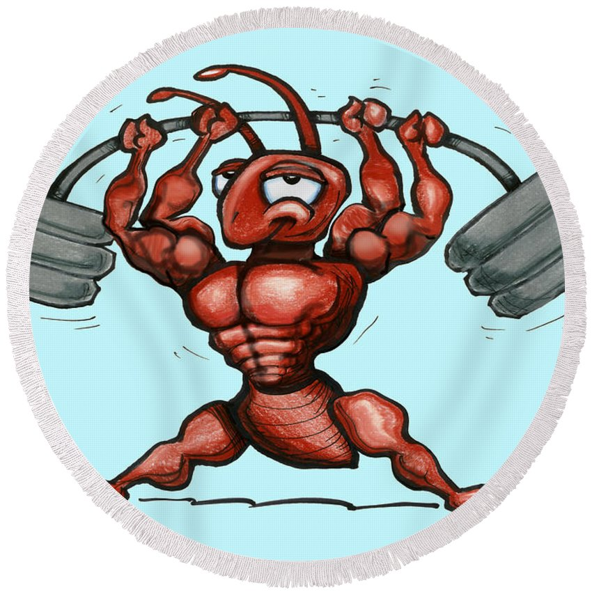 Gym Round Beach Towel featuring the greeting card Ant by Kevin Middleton