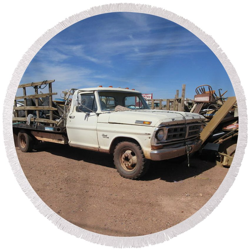 Antique Round Beach Towel featuring the photograph Antique Ford Truck by Frederick Holiday