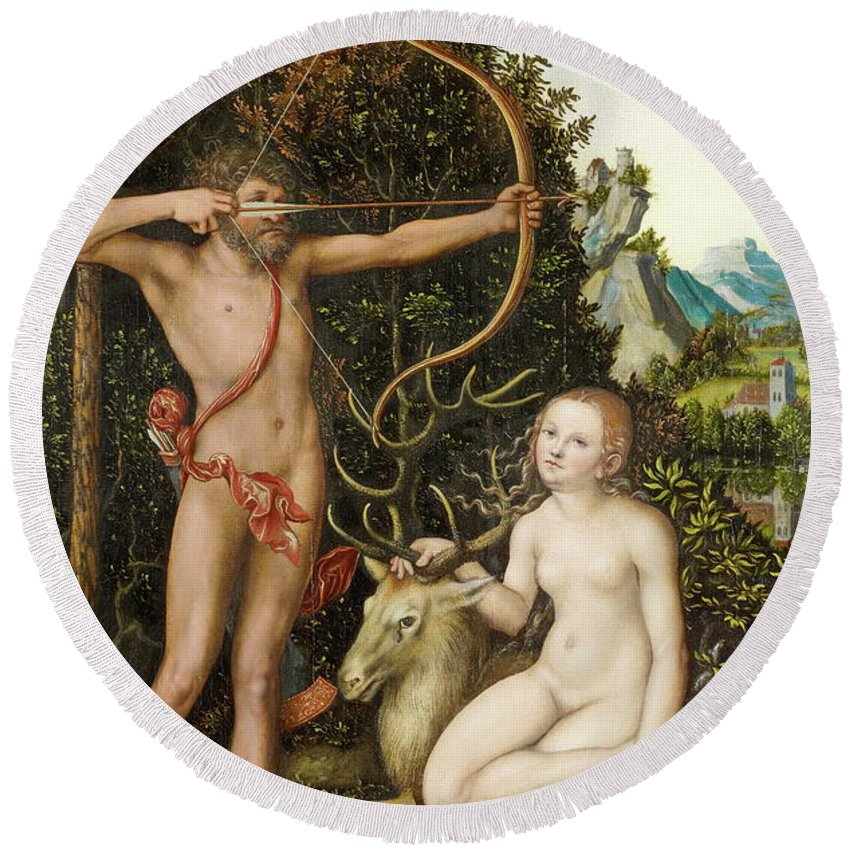 Diana Round Beach Towel featuring the painting Apollo And Diana by Lucas Cranach the Elder