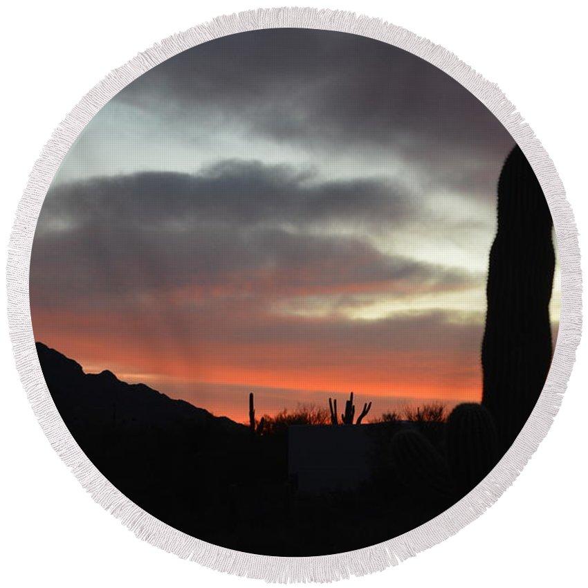 Round Beach Towel featuring the photograph Arizona Skyline by Joshua Barham