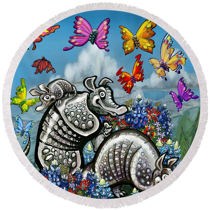 Armadillos Round Beach Towel featuring the digital art Armadillos Bluebonnets And Butterflies by Kevin Middleton