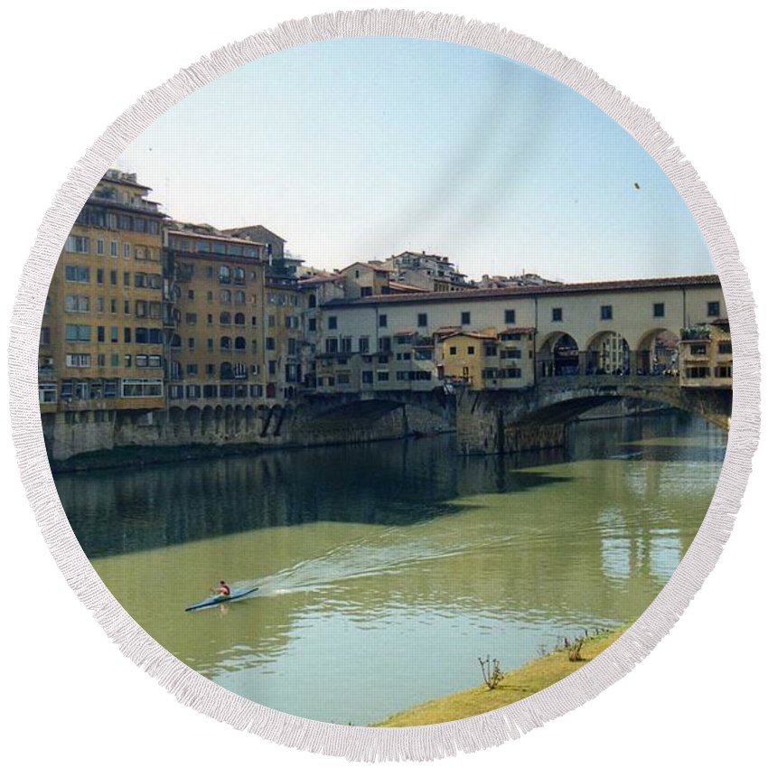 Arno Round Beach Towel featuring the photograph Arno River In Florence Italy by Marna Edwards Flavell