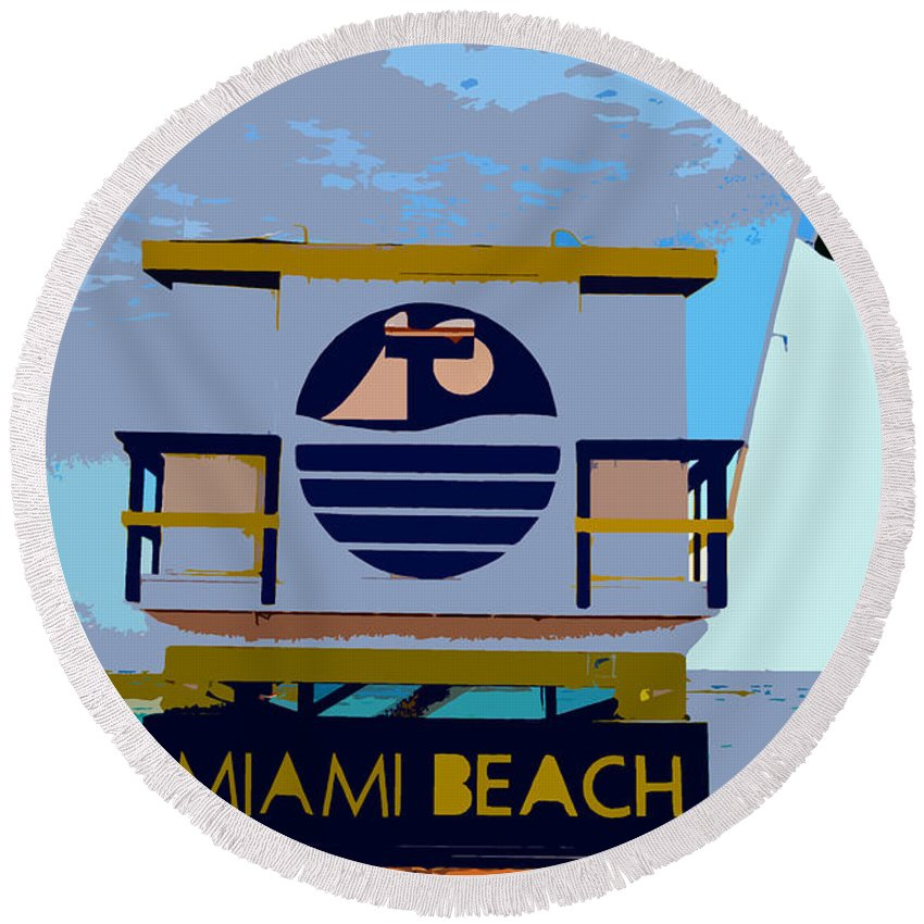Miami Beach Florida Round Beach Towel featuring the photograph Art Deco Lifeguard Stand by David Lee Thompson