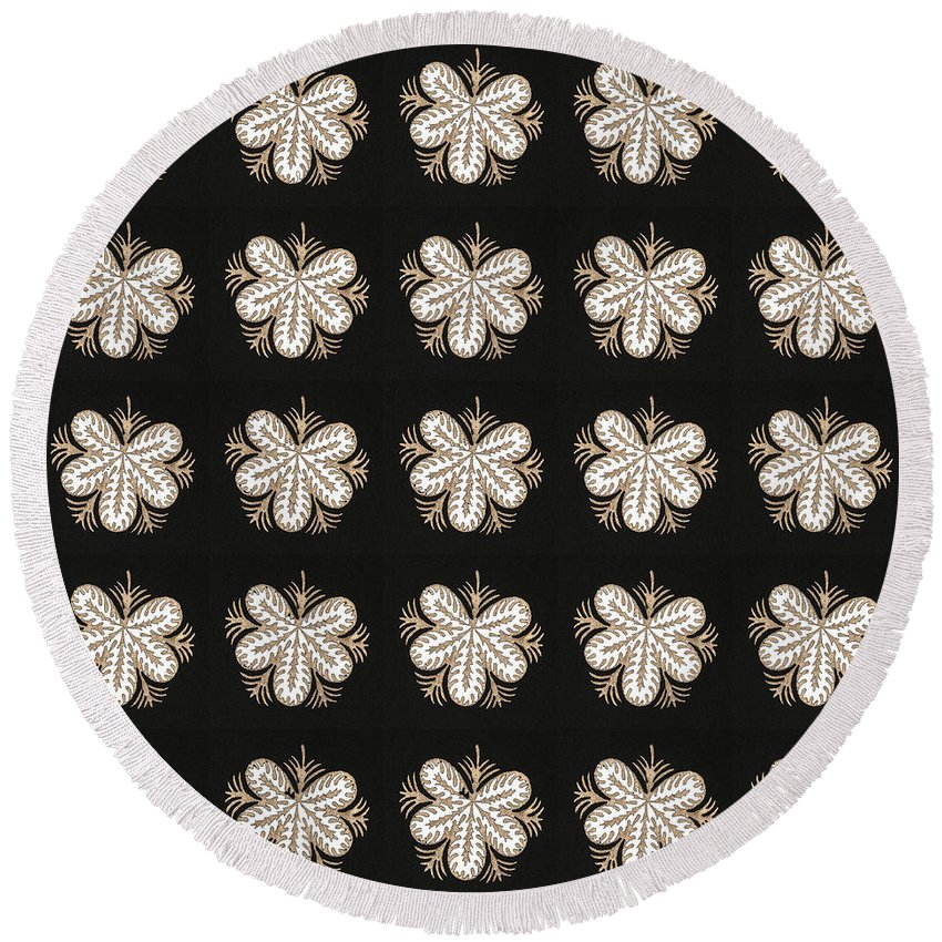 Bnw Round Beach Towel featuring the mixed media Artistic Sparkle Floral Black And White Graphic Art Very Elegant One Of A Kind Work That Will Show G by Navin Joshi