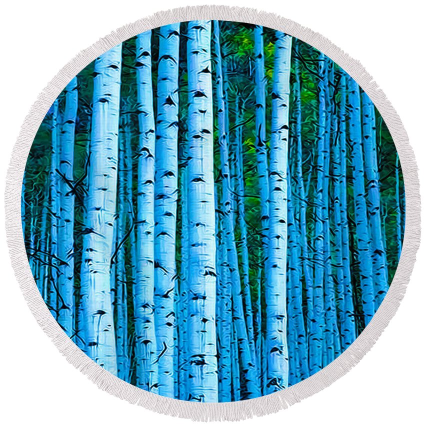 Tree Round Beach Towel featuring the photograph Aspen Aspens by Terry Fiala
