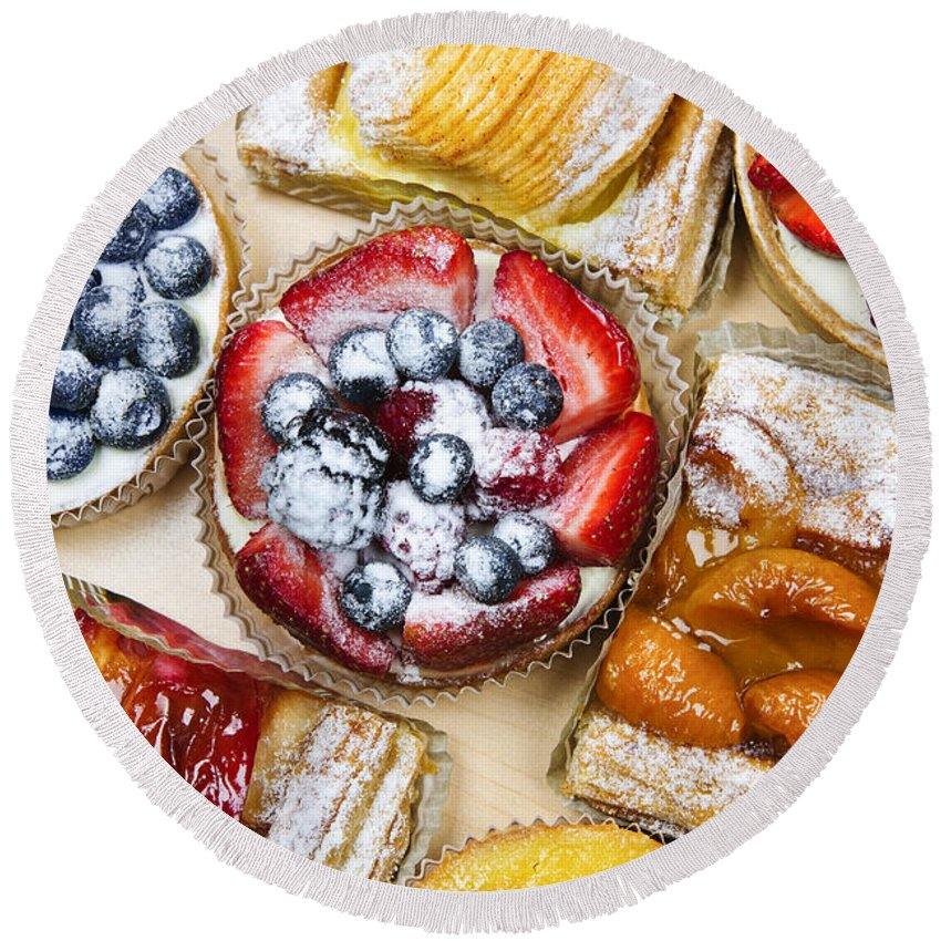 Pastries Round Beach Towel featuring the photograph Assorted Tarts And Pastries by Elena Elisseeva