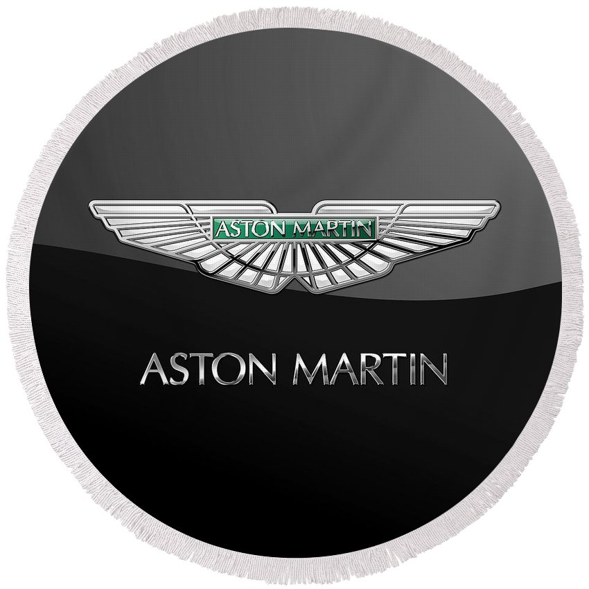 'wheels Of Fortune� Collection By Serge Averbukh Round Beach Towel featuring the photograph Aston Martin 3 D Badge on Black by Serge Averbukh