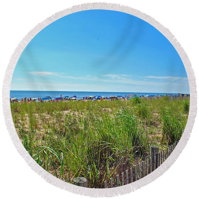 Rehoboth Round Beach Towel featuring the photograph At The Beach by Jost Houk