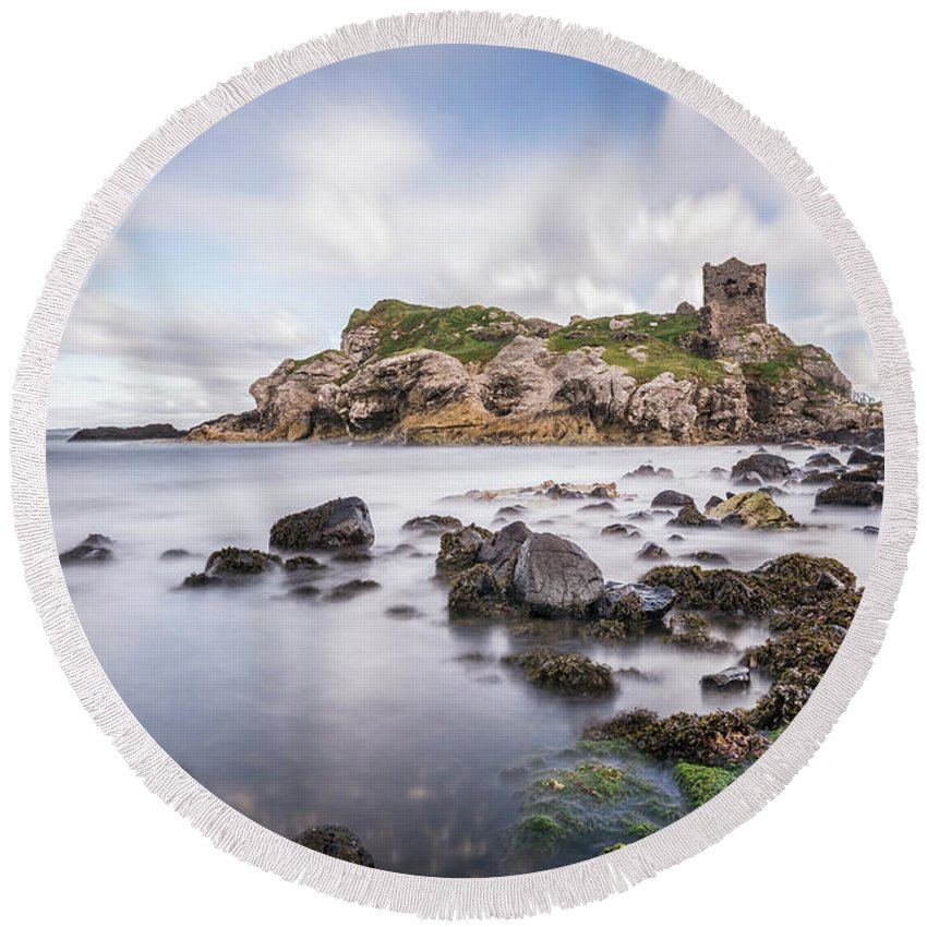 Kremsdorf Round Beach Towel featuring the photograph At The Dreamscape Ruins by Evelina Kremsdorf