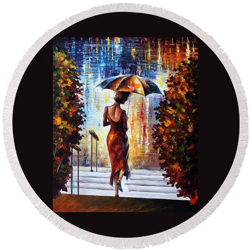 Afremov Round Beach Towel featuring the painting At The Steps by Leonid Afremov