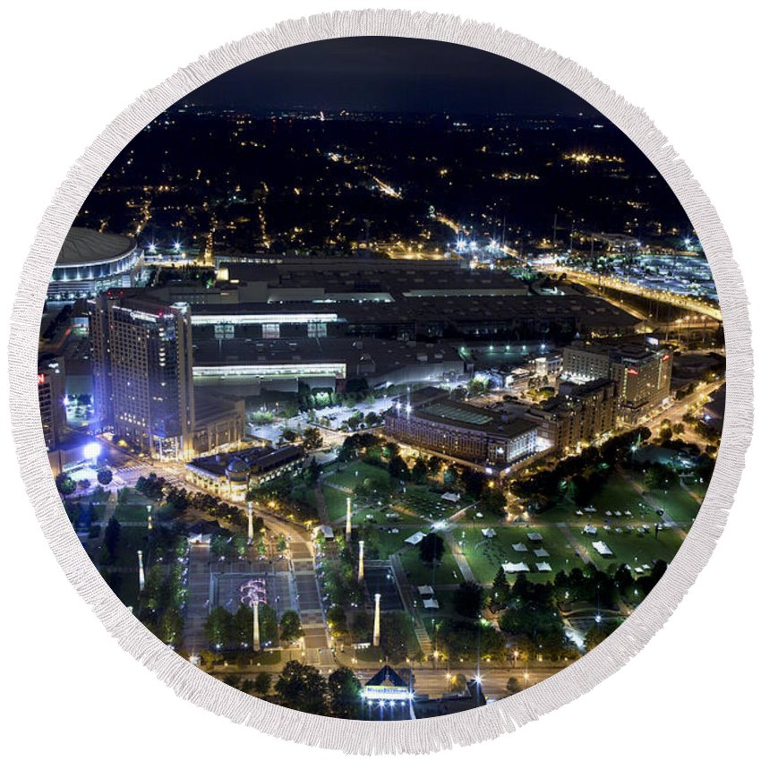 Aerial View Round Beach Towel featuring the photograph Atlanta Georgia Nightlife by Anthony Totah