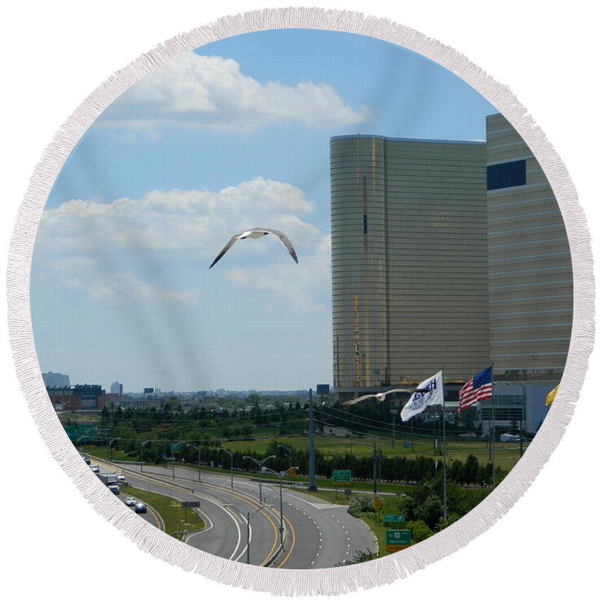 City Round Beach Towel featuring the photograph Atlantic City Skyline by Arlane Crump