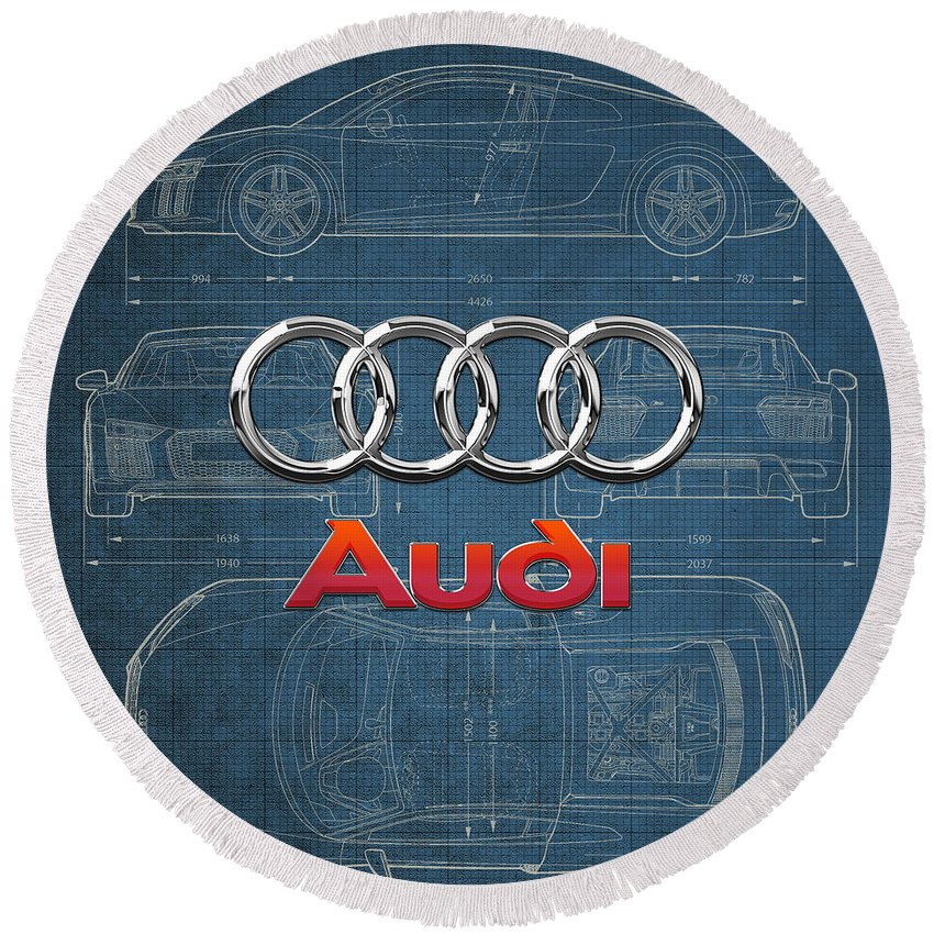 �wheels Of Fortune� Collection By Serge Averbukh Round Beach Towel featuring the photograph Audi 3 D Badge over 2016 Audi R 8 Blueprint by Serge Averbukh