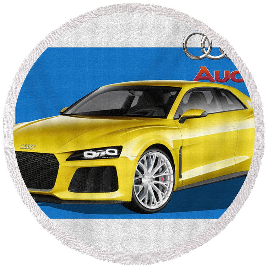 �audi� Collection By Serge Averbukh Round Beach Towel featuring the photograph Audi Sport Quattro Concept with 3 D Badge by Serge Averbukh