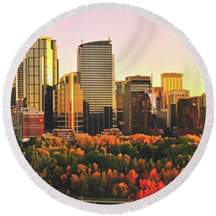 Autumn Round Beach Towel featuring the photograph Autumn In Calgary by Pixabay