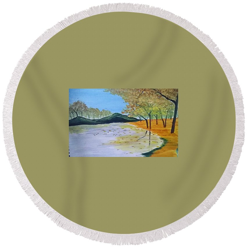 Landscape Round Beach Towel featuring the painting Autumn Landscape by Muniba Urooj