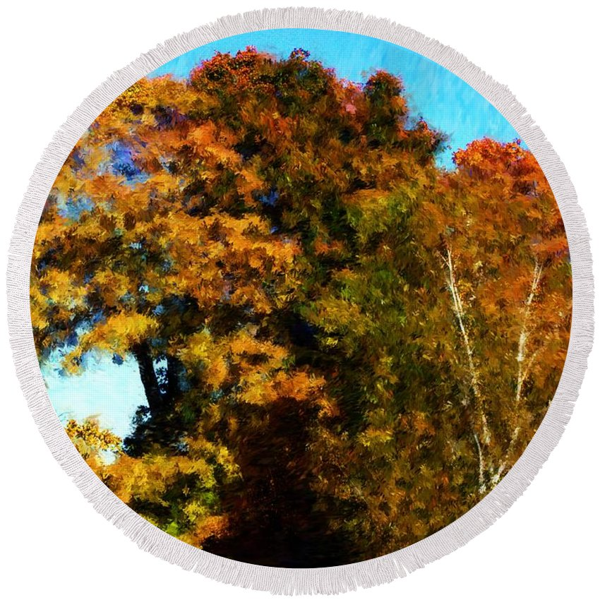 Digital Photography Round Beach Towel featuring the photograph Autumn Leaves by David Lane
