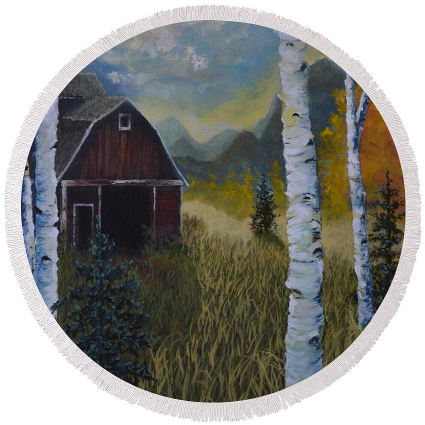Autumn Round Beach Towel featuring the painting Autumn Red Barn by Kimberly Benedict