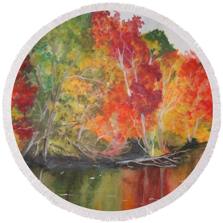 Autumn Round Beach Towel featuring the painting Autumn Splendor by Jean Blackmer
