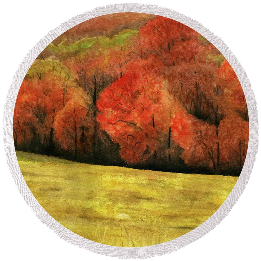 Autumn Round Beach Towel featuring the painting Autumn Splendor by Mary Tuomi