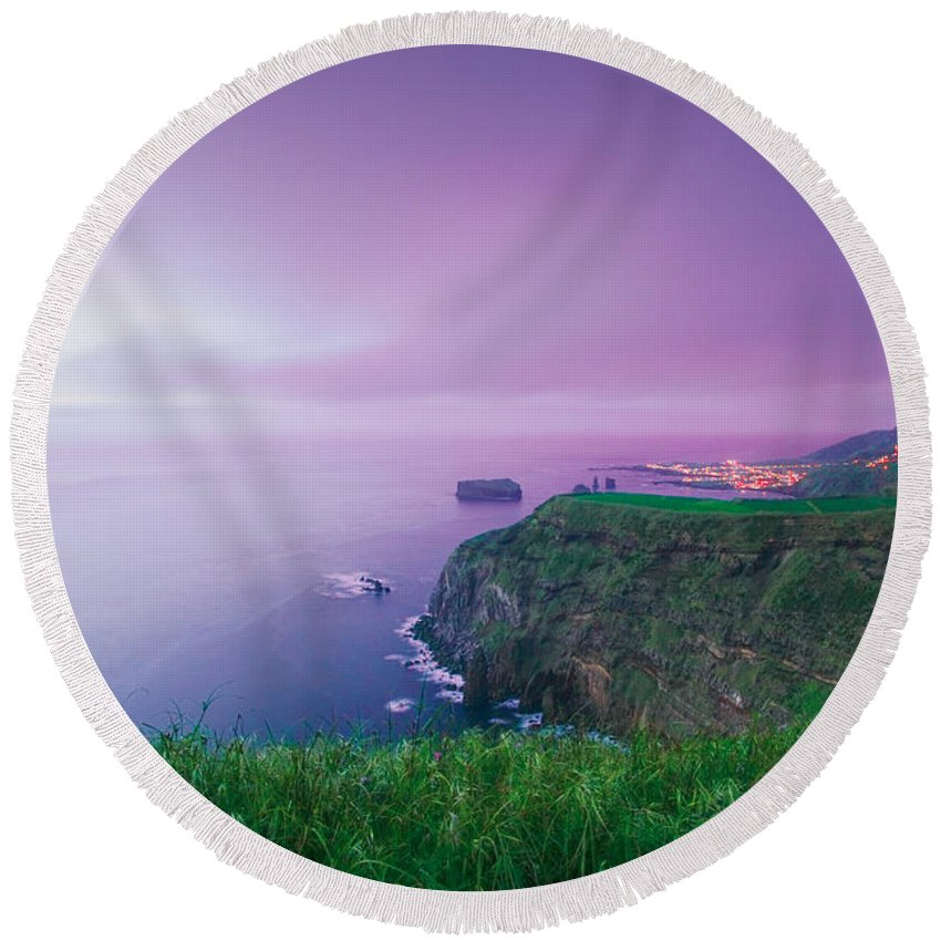Azoren Round Beach Towel featuring the photograph Azores Coastal Landscape by Gaspar Avila