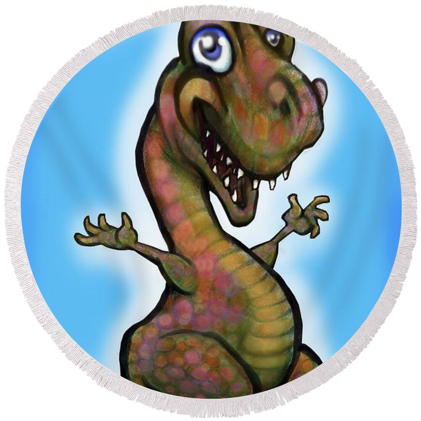 Babyzilla Round Beach Towel featuring the greeting card Babyzilla by Kevin Middleton