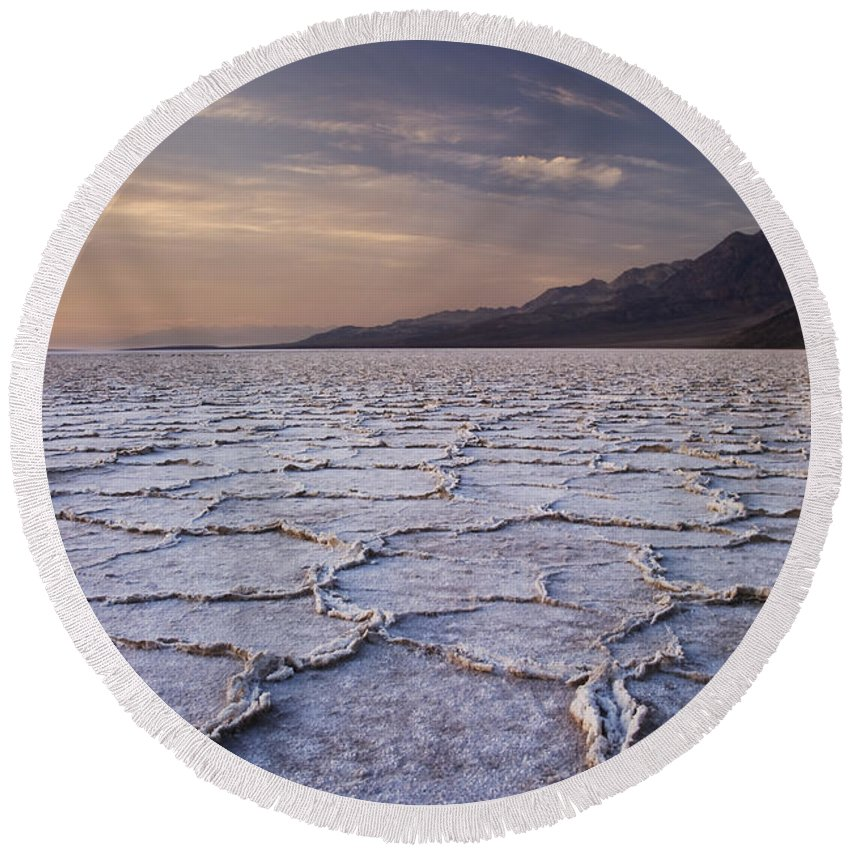 Badwater Round Beach Towel featuring the photograph Badwater Salt Flats 1 by Bob Neiman
