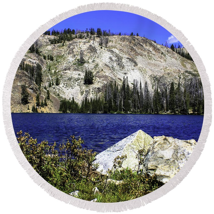 Idaho Photography Round Beach Towel featuring the photograph Baker Lake, Idaho by M Images Fine Art Photography and Artwork