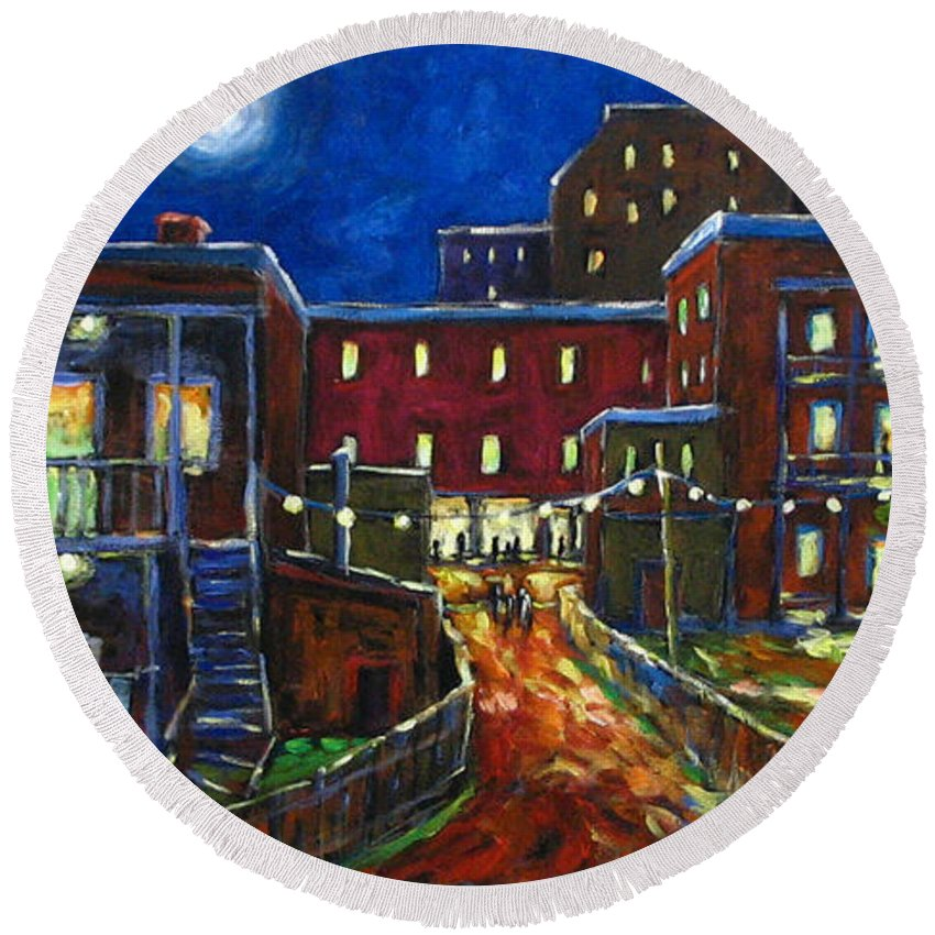 Town Round Beach Towel featuring the painting Balconville by Richard T Pranke